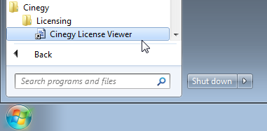 Cinegy_License_Viewer_in_Start_menu