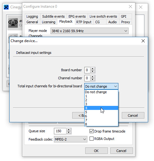 Cinegy Playout instance configuration dialog