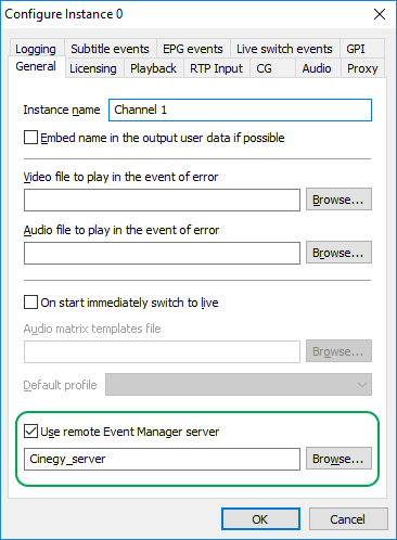Remote Event Manager server