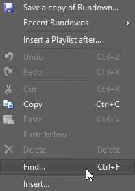 Find in context menu