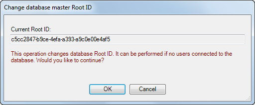 change master database root ID
