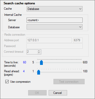 search cache options
