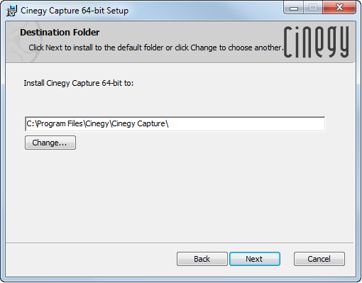 Cinegy_Capture_Manager_installation_folder