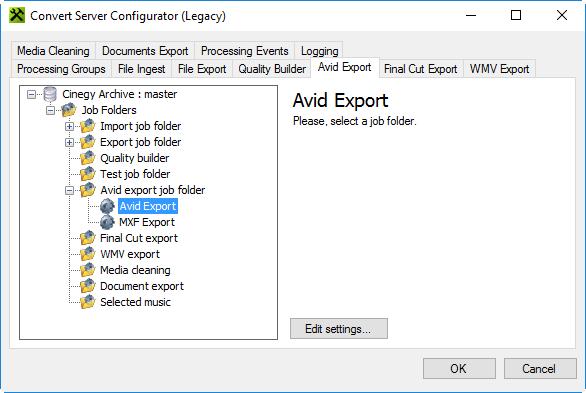 Avid Export – Cinegy Open
