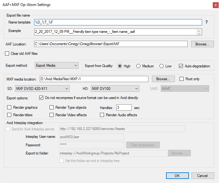 cinegy_browser_avid_settings