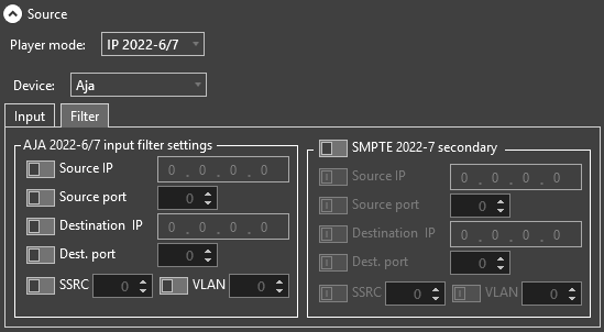 input filter settings for AJA on IP 2022-6/7