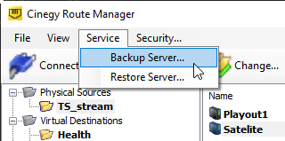 backup server_menu option